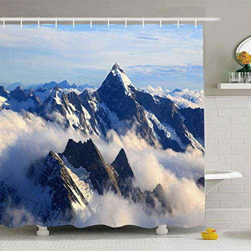 Ahawoso Shower Curtain 66x72 Inches Zealand Blue Alps Alpine Mountain Cook Range Peak Nature Parks Snow Top Valley View Mist Waterproof Polyester Fabric Set with Hooks -