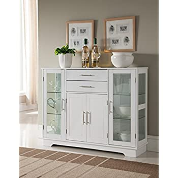 White Wood Kitchen Buffet Display Cabinet with Storage Drawers & Glass Doors