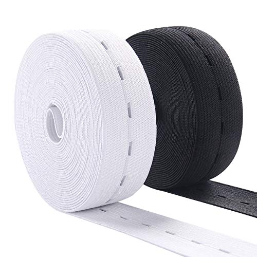 Buttonhole Elastic Band 1 Inch Wide Elastic Bands Stretch Knitting Elastic Spool Adjustable Elastic Band for Sewing 10Yard (5 Yard of White and 5 Yard of Black)