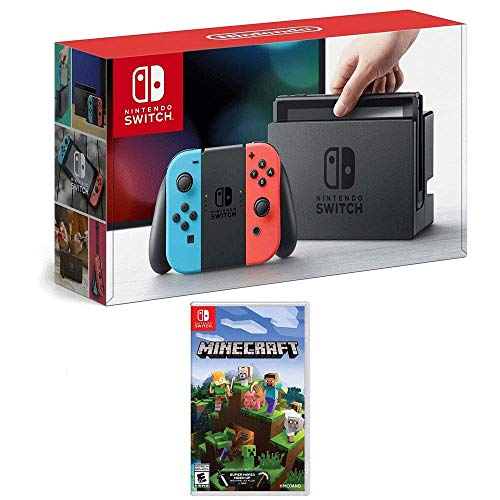 (Nintendo Switch 32 GB Console with Neon Blue and Red Joy-Con w/Minecraft)
