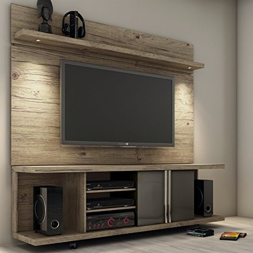(Manhattan Comforts 2-1456881461-MC Carnegie Stand and Park 1.8 Floating Wall TV Panel, 71Lx17.1Wx73H Nature and Onyx)