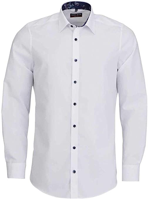 Marvelis New Kent - Camisa de manga larga con cuello de color blanco Blanco 46: Amazon.es: Ropa y accesorios