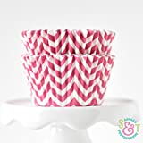 Chevron Pink BakeBright Greaseproof Cupcake Liners