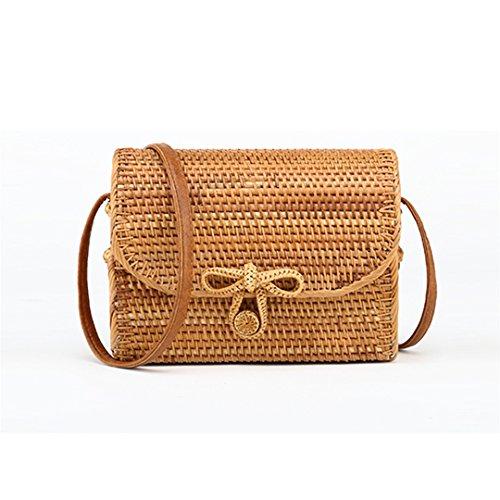 Woven Bag Hand Bag Boutique Cane Bohemian Bali Square Messenger Bag Rattan Bag Buckle Butterfly Light Brown Light Brown
