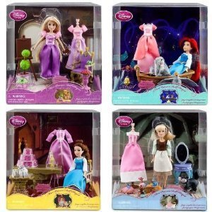Amazon Com Mini Princess Doll Playset Rapunzel Ariel Cinderella Belle Doll Set W Furniture 4