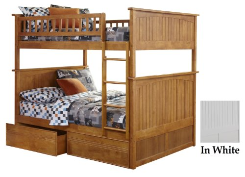 Atlantic Furniture Nantucket Bunk Bed with 2 Flat Panel Bed Drawers, Full Over Full, White (Bed Twin Bunk Maple)