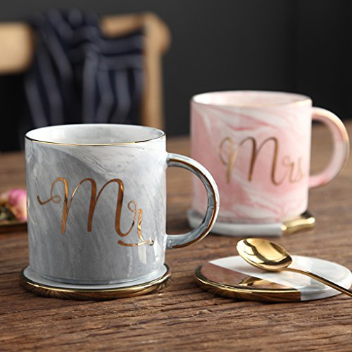 Mr and Mrs Couples Ceramic Coffee Mug Set Unique Wedding Gift For Bride and Groom - His and Hers Anniversary Present Husband and Wife -Engagement Gifts For Him Her For - Anniversary Mug