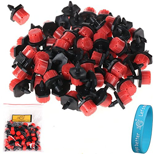 ZFE 52Pcs Adjustable Irrigation Drippers Sprinklers Emitter Drip System On 1/4