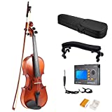ammoon 3/4 Full Size Solid Wood Antique Violin Fiddle Matte Finish Spruce Face Board with Hard Case Bow Rosin + Multifunctional 3-in-1 Digital Tuner Metronome Tone Generator + Violin Shoulder Rest