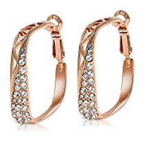 Kemstone Rose Gold Crystal Hoop Earrings Women Fashion Jewelry