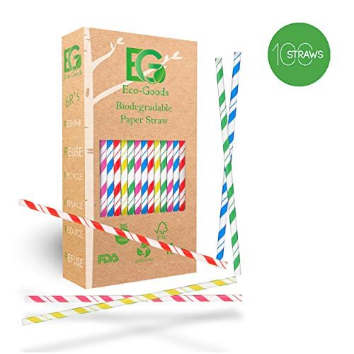 - New Premium Paper Straws Biodegradable, Eco-Friendly, Bulk Drinking for Smoothie, Birthday Party Supplies Decoration, Baby Shower, Christmas, Striped Colored Sticks, Paper Straw 7.7'' (By Eco-Goods)
