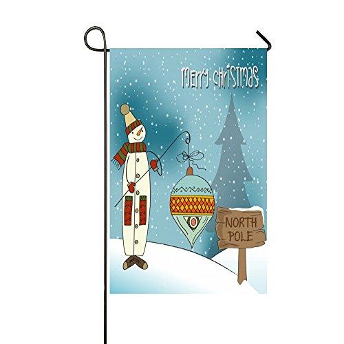 North Pole Snowman - Rossne G sun Merry Christmas Snowman Angle Lantern North Pole Garden Flag House Flag Decoration Double Sided Flag 28 x 40 Inch