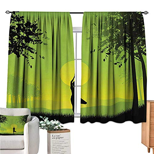 (Warm Family Yoga Window Curtain 2 Panel Meditating Lady Under Sunset Sky in Forest Serenity Balance Soul Nature Art Green Black Yellow soundproof Curtain W55 x L39)