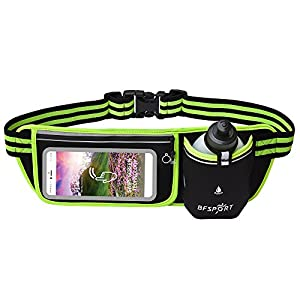 BFSPORT Neoprene Water-Proof Running Belt,Touchscreen Zipper Pockets Fitness Workout Waist Pack with One 9 Oz BPA-Free Leak-Proof Water Bottle,Fits up to 6 Inch Size Phones