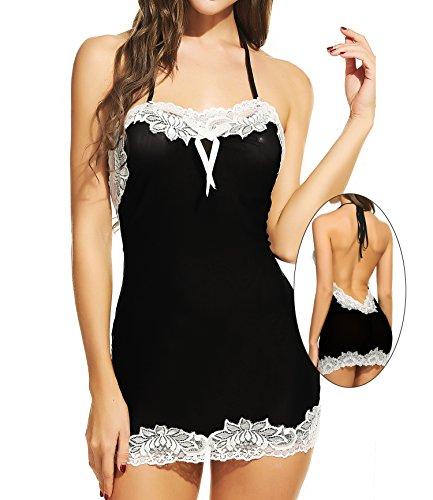 Avidlove Women Sexy Lingerie Halter Backless Lace Trim Babydoll G-String 2 Piece Set Sleepwear Black Medium
