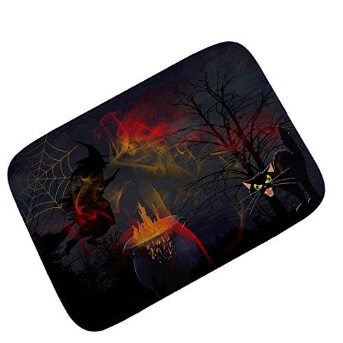 Sothread 40x60cm Halloween Decor Non-slip Witch Bat Printed Carpet Mats Bath Area Rug (100 Floors Halloween 13)