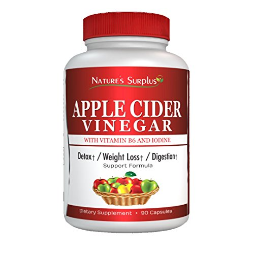 Extra Strength Apple Cider Vinegar Capsules - Weight Loss, Cholesterol, Detox, Cleanse, Metabolism & Digestion Support by Nature's Surplus
