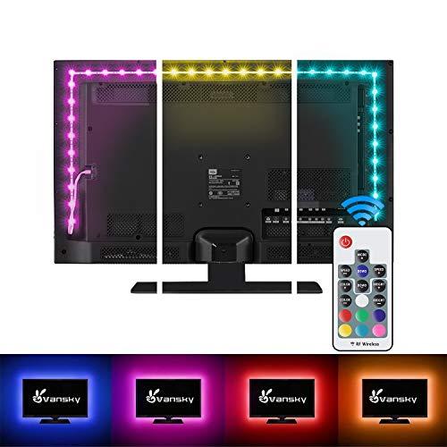 LED Strip Lights,Vansky Bias Lighting Strip for TV USB Powered for 40-60 Inch Flat Screen TV, Desktop PC – 16 Multi…