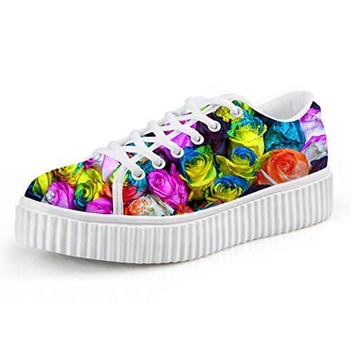 HUGS IDEA Fashion Flower Low Top Shoes Women Platform Sneakers Floral 3 VqV8xrPdB