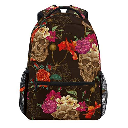 Vintage Skulls Flowers Retro Floral Painting Halloween Backpack Bookbags Daypack Travel School College Bag for Womens Mens Teens ()