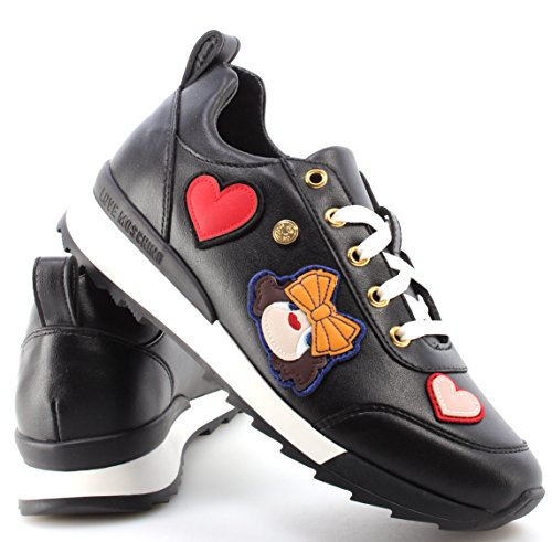 Zapatos Vitello Love Mujer Moschino Black 25 Negro Power Sneakers Nero Ricamo q55B7
