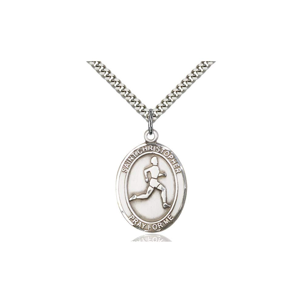 DiamondJewelryNY Sterling Silver St Christopher//Track/&Field Pendan