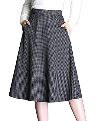 chouyatou Women's High Waist Plaid A-Line Flared Midi Flannel Skirts with Pockets