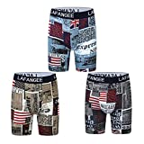 Lafangee Men's Boxer Briefs Printed Long Leg Cotton Stretch Underwear 3 Pack