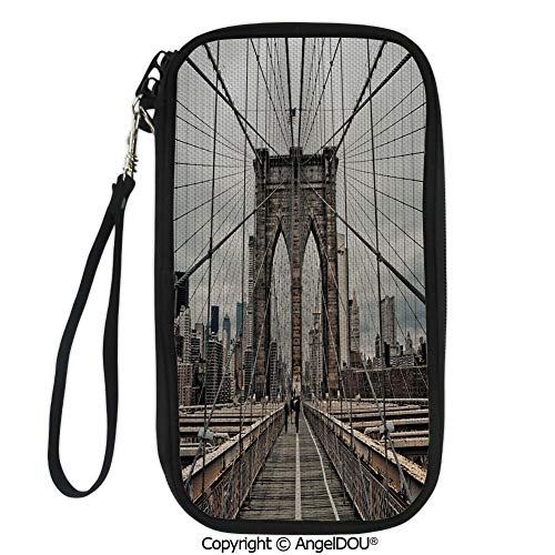 PUTIEN Hand Strap Design Travel Passport Wallet View Of Historical Famous Brooklyn Bridge and Cable Pattern NYC Architecture for Travel Bussiness.
