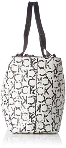 Calvin Klein IS4 Large Reversible Tote, Sac Femme, Blanc (Ck Print), 16x30x33 cm