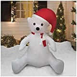 CHRISTMAS AIRBLOWN INFLATABLE 8 FT TALL SITTING POLAR BEAR W/ SANTA HAT OUTDOOR YARD DECORATION by Unknown