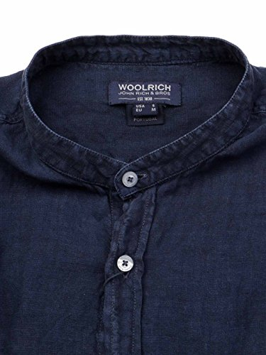 Woolrich Uomo Lino Camicia Wocam06753731 Blu 7qZg7