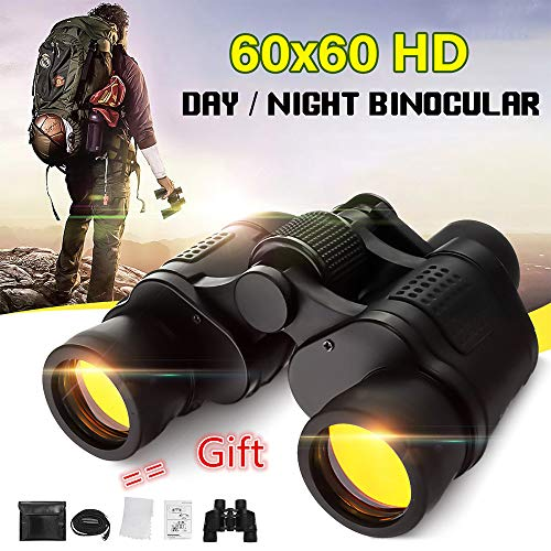 60X60 Zoom HD Day/Night Vision Binoculars, Portable Roof Prism Folding Binoculars with Clear Weak Light Night Vision for Adults/Kids, Life Waterproof (Black) (3000x Zoom)