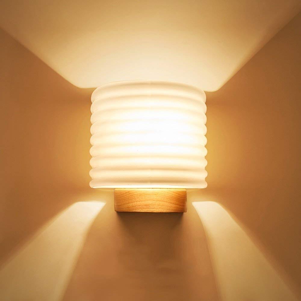 ACZZ Moderne minimalistische Glaswandleuchte Nordic Holz Led Treppenlicht E27 Schlafzimmer Nachttischlampe Korridor Gang Balkon dekorative Wandleuchte Leuchte