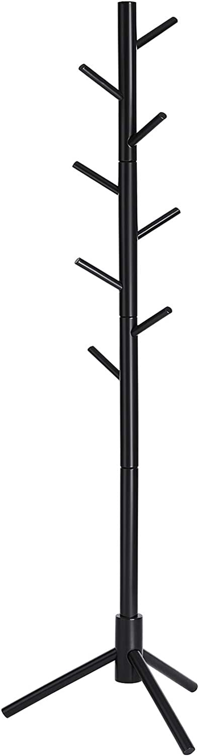 VASAGLE Coat Rack, Solid Wood Coat Stand, Free Standing Hall Coat Tree with 8 Hooks for Coats, Hats, Bags, Purses, for Entryway, Hallway, Rubberwood, Black URCR04BK