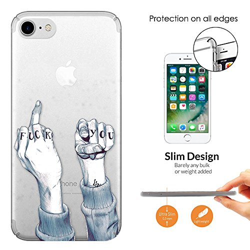 "c00361 - Middle Finger Fuck You Fun Design iphone 7 Plus 5.5"" Fashion Trend Leichtgewicht Hülle Ultra Slim 0.3MM Kunststoff Kanten und Rückseite Protection Hülle - Clear"
