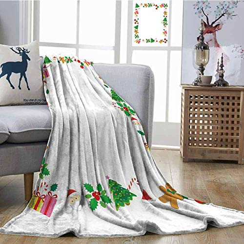 SONGDAYONE Breathable Blanket Kids Christmas Anti-Wrinkle Blanket Colorful Border with Different Clip Arts Holiday Festivity Santa Trees Balls Multicolor W54 xL72