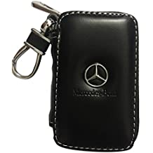 SHANG MEDING Black Premium Leather Car Key Chain Coin Holder Zipper Case Remote Wallet Bag Cover (Mercedes-Benz)