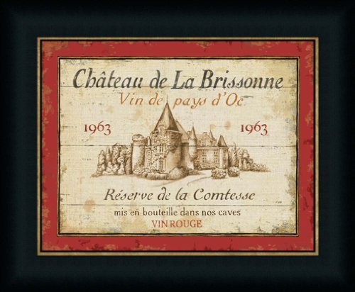 French Wine Labels I by Daphne Brissonnet Vintage Style Sign Wall Art Print Framed Décor (Framed Label Wine)