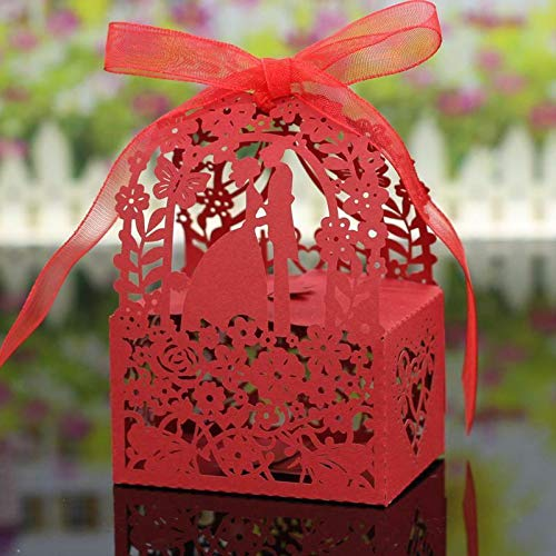 20Pcs Hollow Out Chocolate Candy Gift Boxes Wedding Party Favor Box With Ribbon |Color - Plum Blossom Pattern - Iridescent Petticoat