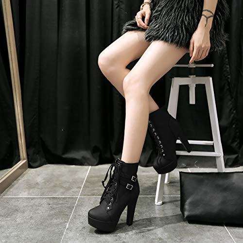 Susanny Women Autumn Round Toe Lace Up Ankle Buckle Chunky High Heel Platform Knight Black Martin Boots 7 B (M) US (CN Size_39)