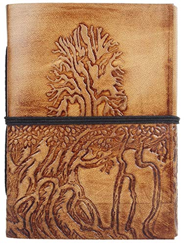 LEATHER JOURNAL Tree of Life - Writing Notebook Handmade Leather Bound Daily Notepads For Men & Women Blank Paper Large 7 x 5 Inches - Best Gift for Art Sketchbook, Travel Diary & Journals to Write in