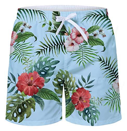 RAISEVERN Men's Swim Trunks 3D Hawaiian Tropical Floral Print Quick Dry Beach Board Shorts Swimwear Bathing Suit with Mesh Lining/Pocket ()