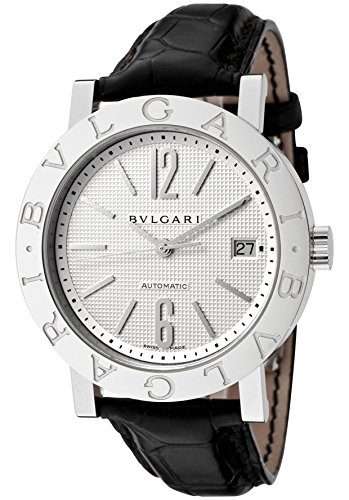 Men's Bulgari Bulgari Mechanical/Automatic Off White Dial Black Crocodile