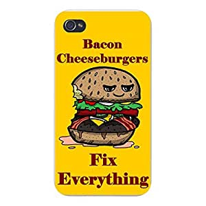 "Apple iPhone Custom Case 5 5s White Plastic Snap On - ""Bacon Cheeseburgers Fix Everything"