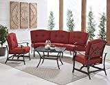 Hanover TRAD4PCCT-RED Traditions 4-Piece Patio Set with Cast-Top Coffee Table, Crescent Sofa Outdoor Furniture, Red