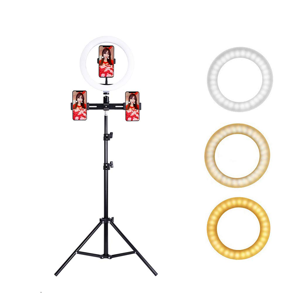 Jumor 14'' Selfie Ring Light with Aluminum Tripod Stand, Phone Holder & Remote for YouTube/Makeup,Mini Led Camera Light Ring with 3 Light Modes & 9 Brightness for iPhone/Android by Jumor