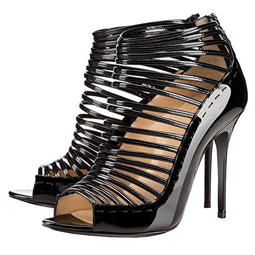para Negro Sandalia Tacón ArcEnCiel Gladiador mujer Zapatos alto w5qv0Ra