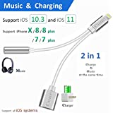 iphone 7 / 7 plus / 8 / X adapter, (Support iOS 10.3, iOS 11)Cone 2 in 1 Lightning Adapter and Charger, Lightning to 3.5mm Aux Headphone Jack Audio Adapter for iphone X, 8, 8 plus, 7 plus(Silver)