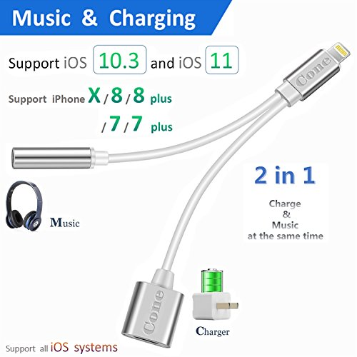 Lightning to 3.5mm Aux Headphone Jack Audio Adapter for iphone 7 / 8 / X / 7 plus / 8 plus (Support iOS 10.3, iOS 11), Cone 2 in 1 Lightning Adapter and Charger (Silver)